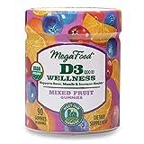 MegaFood, Certified Organic D3 Wellness Gummies, Soft Chew 1000 IU Vitamin D Supplement for Bone, Muscle and Immune Support, Gluten Free, Vegetarian, 90 Gummies (45 Servings)