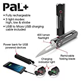 NEBO 6715 PaL+ Utility Tool - Folding Pocket Knife, 400 Lumen Flashlight Plus Power Charger for iPhone or Android - all in one convenient multi-tool
