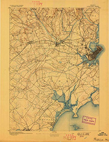 YellowMaps Portland ME topo map, 1:62500 Scale, 15 X 15 Minute, Historical, 1893, Updated 1898, 20.2 x 15.5 in - - Buxton Gravis