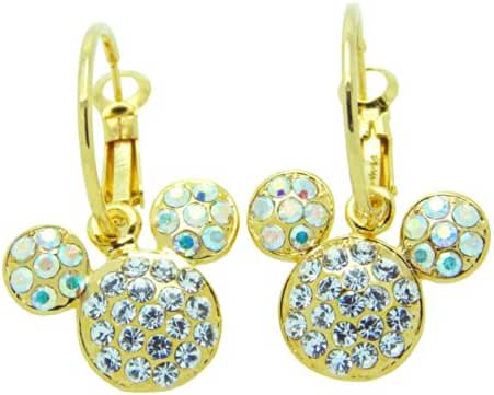Poonsuk@lucky 24k Gold Plated Mickey Mouse Birthstone with Crystal Diamond Hoops Earrings Super Sale!!!!!