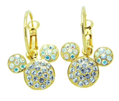 Poonsuk@lucky 24k Gold Plated Mickey Mouse Birthstone with Crystal Hoops Earrings Super Sale!!!!!