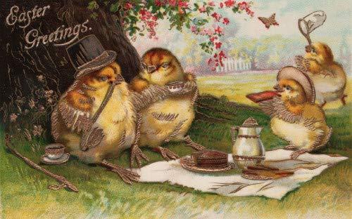 Vintage Easter Art~Dressed Easter Chicks Dine Al Fresco on Picnic~6 pack NEW Matte Vintage Picture Large Blank Note Cards with Envelopes