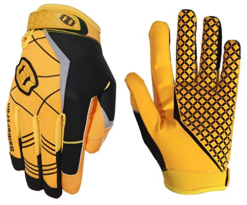 Seibertron Pro 3.0 Elite Ultra-Stick Sports Receiver Glove Football Gloves Youth and Adult (Yellow, S)]()