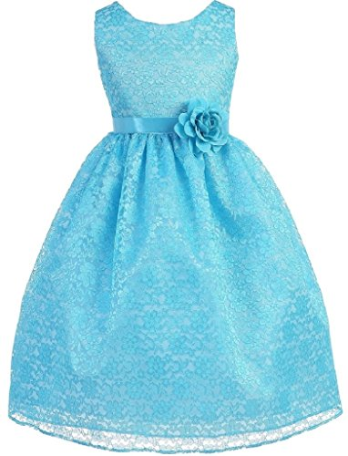 Big Girls' Adorable Lace Overlay Spring Summer Flowers Girls Dresses Turquoise Size 8
