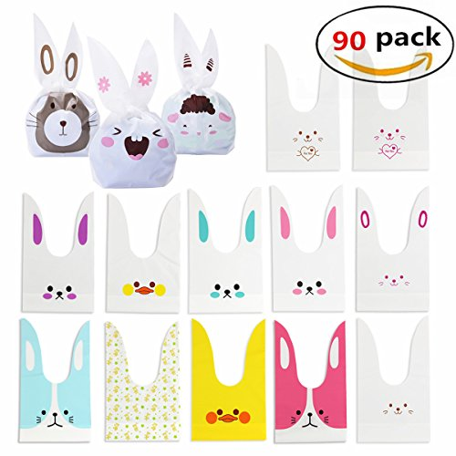 Easter Bunny Gift (Rabbit Ear Bag 90 Pcs Candy Gift Dessert Sandwich Snack Biscuits Cookies Cakes Plastic Bags With Cute Bunny Ear Treat Bag For Easter, Party Favors)