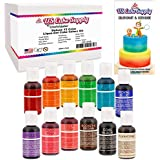 12 Color-US Cake Supply® by Chefmaster Liqua-Gel Paste Cake Color Set - The 12 Most Popular Colors in 0.75 fl. oz. (20ml) Bottles