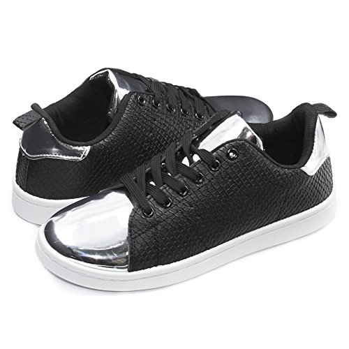 Sara Z Womens Embossed Shiny Toe Lace-Up Sneakers Black/Silver - Online Women Hottest