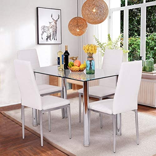 home, kitchen, furniture, kitchen, dining room furniture,  table, chair sets 4 picture JOYBASE 5 Piece Dining Table Set, Tempered Glass promotion