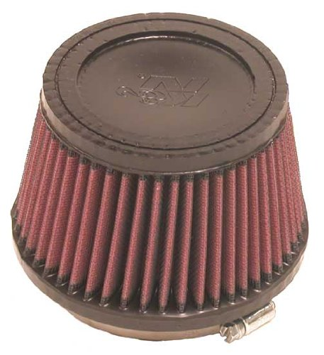 K&N RU-2510 Universal Clamp-On Air Filter: Round Tapered; 4 in (102 mm) Flange ID; 3.5 in (89 mm) Height; 5.375 in (137 mm) Base; 4.375 in (111 mm) Top by K&N