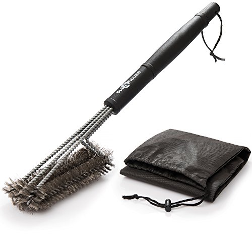 """Grill Brush Barbecue Cleaner – 3-in-1 Stainless Steel, 18"""" Strong Grip Handle – BBQ Cleaning Made Easy for All Gas and Charcoal Grills – Perfect Barbecue present for Grilling by out and house - Grip Grill Brush"""