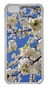 Customized iphone 5C PC Transparent Case - White Japanese Cherry Blossom Personalized Cover by icecream design