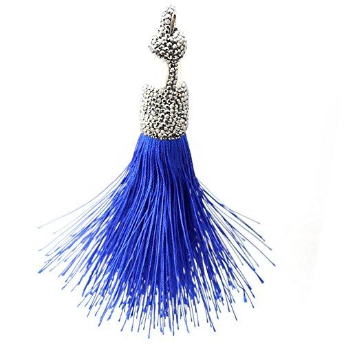 Trend Builder Inc New Big Bold Beautiful High End Fashion Tassel Rhinestone Drop Dangle CZ Necklaces & Pendants & Keychains (Dancing Sky Blue) ()