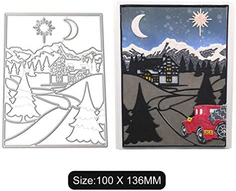 Mountain Trees Metal Cutting Dies and Stamps Stencils For DIY Scrapbooking Craft