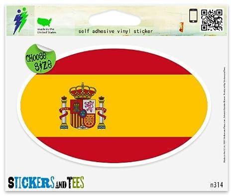 Amazon.com: España Bandera Pegatina de Ventana ovalada ...