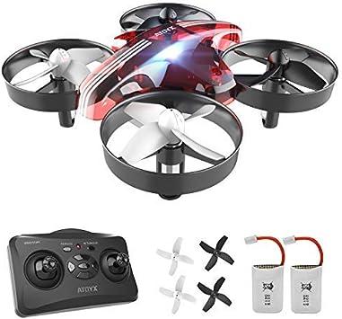 Opinión sobre ATOYX Mini Drone, RC Drone 2.4G 4 Canales 6-Axis Gyro, Quadcopter con Modo sin Cabeza, Altitud Hold, Alarma de Batería y 3 Modos de Velocidad, Regalos y Juguetes, AT-66B (Rojo)