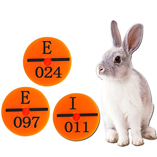 100 Sets Plastic Ear Tag Animal Livestock For Rabbit Pig Yellow Green Orange Label 001-100 (Orange)