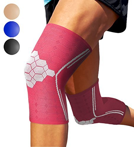 Sparthos Knee Compression Sleeves (Pair) – Support Sports, Running, Joint, Knee Pain Relief – Knee Brace Men Women – Knee Sprains Strains Arthritis Ligament Injury Recovery (Pink-XL)