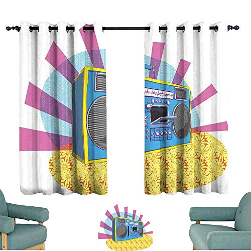 HCCJLCKS Printed Curtain 70s Party Decorations Retro Boom Box in Pop Art Manner Dance Music Colorful Composition Light Blocking Drapes with Liner W72 xL45 Multicolor