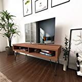 Roomfitters Mid Century Media Console/TV Stand, Two Open Storage, Walnut ...