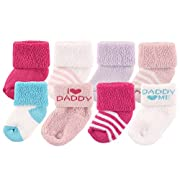 Luvable Friends Unisex 8 Pack Newborn Socks, Pink/Daddy, 0-6 Months