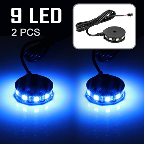 [2x Blue LED Motorcycle Light Wheel Rim Glow Accent Light 5050 Black Housing] (Blue Led Rim)