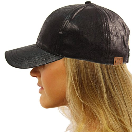 CC Everyday Vintage Distressed Faux Leather Baseball Adjustable Cap Hat Black