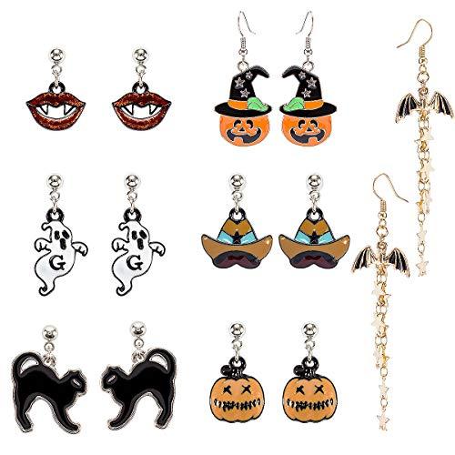 MADHOLLY 7 Pairs Halloween Theme Drop Earring Pumpkin Ghost Cat Wizard Hat Bat Dangle Earring Set for Girls and Women -