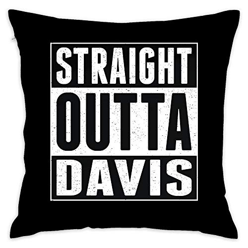 Straight Outta Davis Decorative Cotton Sofa Home Decor Design Throw Pillow Case Cushion Cover Square 18x18 -