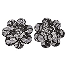 Cicilli Women's Flower Shaped Invisible Nipple Cover - Five Pairs, Black, 7 cm