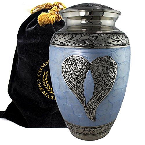 One Light Urn - Loving Angel Wings - Blue and Silver - Funeral, Burial, Niche Or Columbarium Cremation Urn for Human Ashes - 100% Brass - Adult, Large