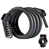 Cheap TargetEvo Security Bike Lock Cable Chain 5-Digit Resettable Self Coiling Anti-Theft Combination Lock With Mounting Bracket 6 Feet