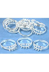 12 Silver Finger Ring Jewelry Findings Charm Beading