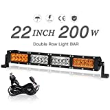 "white and amber driving light - 22""LED Light Bar Amber White Dual Color 200W 20000LM Spot Flood Combo Beam Automotive Off-road Driving Fog Lights with Wiring Harness, 2 Year warranty"