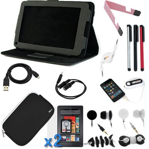 GTMax 16 Items Essential Accessories Bundle kit for Amazon Kindle Fire Full Color 7