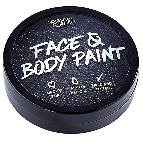 Makeup Based Halloween Costumes (Water Activated Face and Body Paint - Black, 18g Cake Tub - Pretend Costume and Dress Up Makeup by Splashes &)