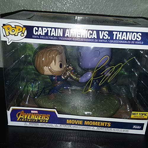 CHRIS EVANS JOSH BROLIN JOSEPH RUSSO ANTHONY RUSSO - Autographed Signed Captain America Vs Thanos FUNKO POP 698 Vinyl Figure - MARVEL DC