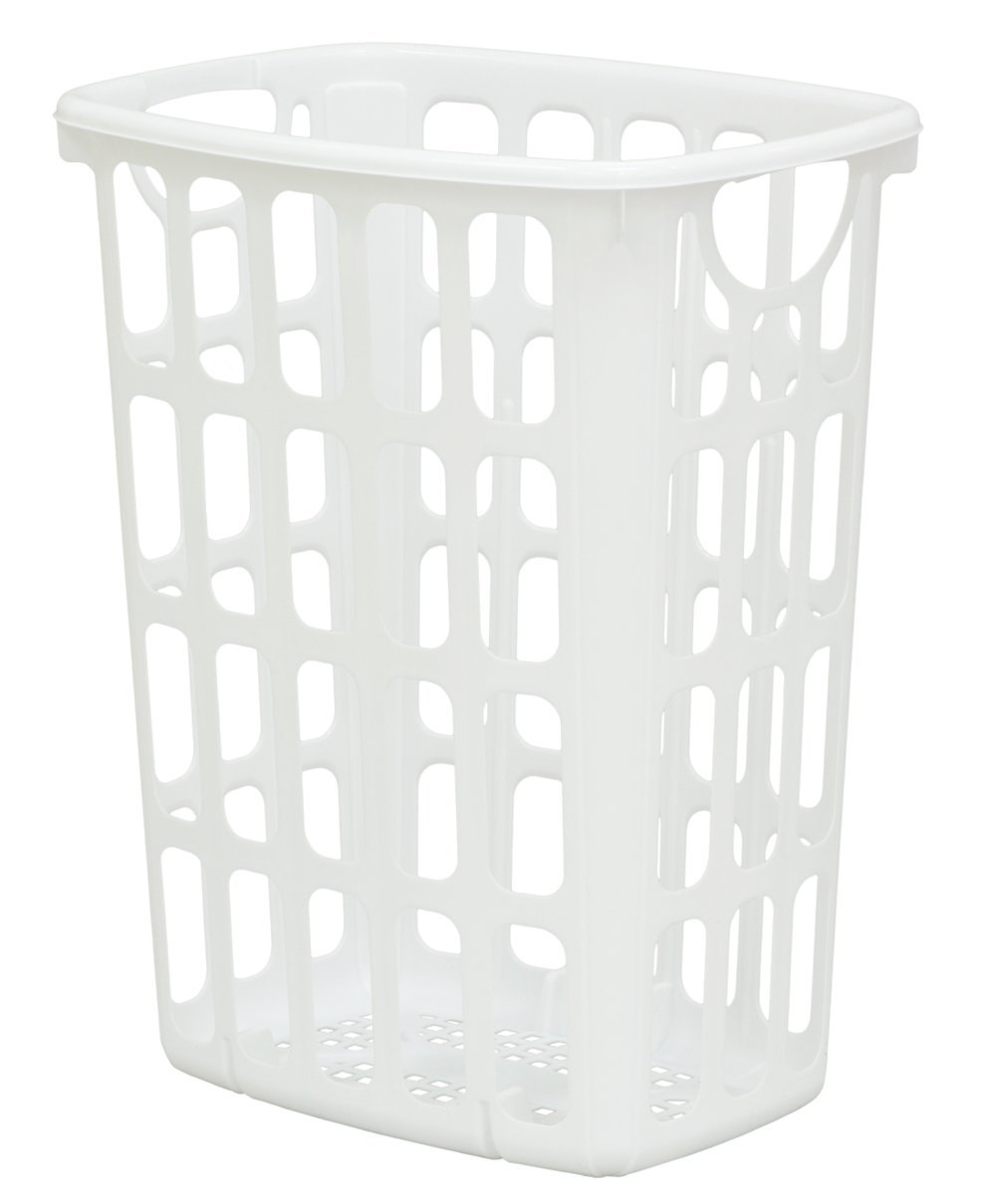 United Solutions LN0205 Two Bushel White AIRitOUT Laundry Hamper -2 Bushel White Hamper with Pass Through Handles Designed for Maximum Airflow