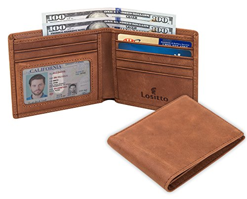 Bi Fold Leather Distressed (Lositto RFID Blocking Genuine Leather Wallet for Men-Excellent as Travel Bifold (Desert brown-Crazy horse leather))