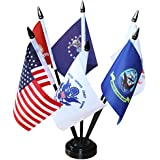 """ANLEY USA Armed Service Desk Flags Set - 6 X 4 inches Miniature American Military Sectors Desktop Flag with 11"""" Solid Plastic Pole - Vivid Color & Fade Resistant"""
