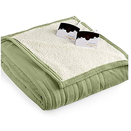 c9db44b0203 Biddeford 2063-9052140-633 MicroPlush Sherpa Electric Heated Blanket Queen  Sage