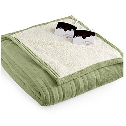 Biddeford 2063-9052140-633 MicroPlush Sherpa Electric Heated Blanket Queen Sage