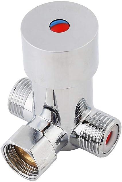 Valvola miscelatrice acqua 2 miscelatori termostatici per rubinetti cromo lucido caldo freddo controllo temperatura per rubinetto automatico G1