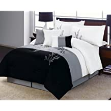 Alyssa Comforter Set Black, White, Gray Vine QUEEN Bed In A Bag with accent pillows