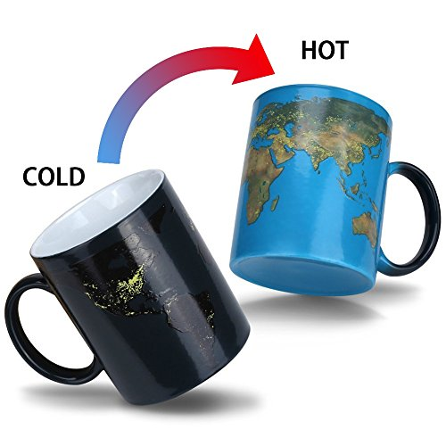 Heat Color Changing Mug Gifts for Mom Morning Coffee Mug Day and Night Magic Heat Sensitive Porcelain Cup Tea Cup Novelty Gifts for Father, Boyfriend, Brother, Friends, 11 - Mug Changing