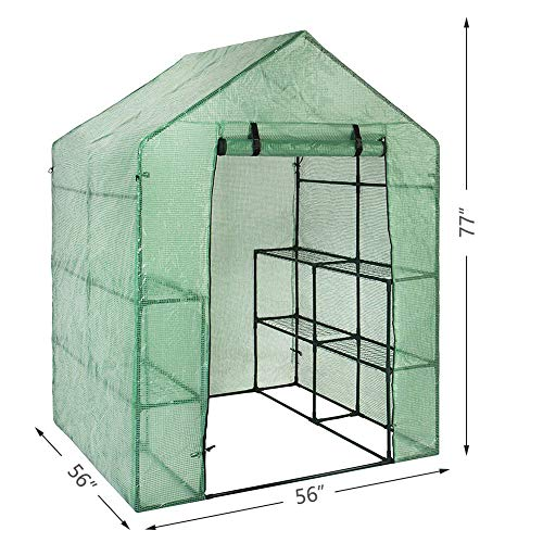 YOUKE Walk-in Greenhouse PE Cloth Cover Garden House Succulent Plants Flowers Green Plant Insulation Family (56''x56''x77'') by YOUKE (Image #1)