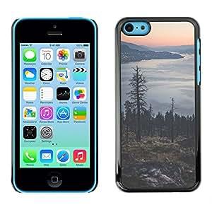 Eason tienda/Slim snap-on duro Carcasa - lago de luces de la ciudad - árbol para iPhone 5C
