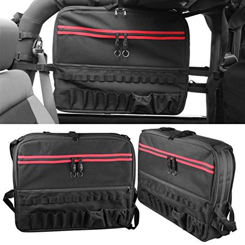 (SUNPIE 2X Roll Cage Multi-Pockets Storage & Organizers & Cargo Bag Saddlebag for 2007~2017 Jeep Wrangler JK 2-Door Tool Kits Bottle Drink Phone Tissue Gadget Holder)