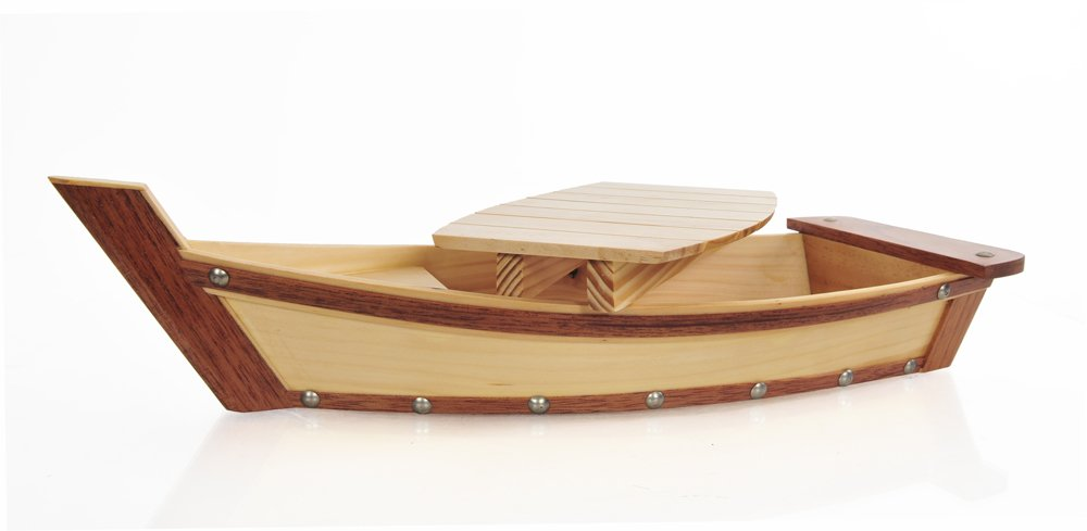 Old Modern Handicrafts Q059 Wooden Sushi Boat Serving Tray Small