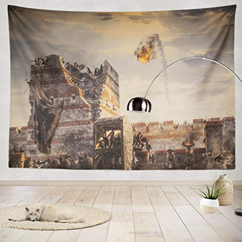 ONELZ Decor Collection,Historic War and Catapult Fire Bedroom Living Room Dorm Wall Hanging Tapestry 50