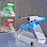 Auralum Single Hole Single-Handle Bathroom Sink Faucet LED Waterfall Vessel Bathroom Faucet in Chrome with 3 Changing Color Light